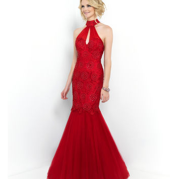 Carmine Red High Neck Open Back Embroidered & Beaded Mermaid Gown