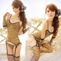 XL049 New arrival Women's Sexy Leopard Lingerie Garter Tops Thongs Stockings Gloves Set Outfits