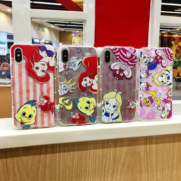 Cover for The Mermaid Alice in Wonderland Anti-Knock Air TPU Silicone Phone Case for Coque iPhone 8 7 6 6S Plus X 10 5 5S SE