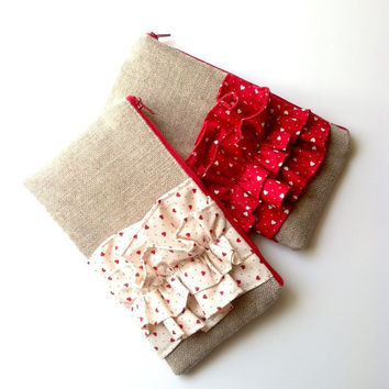 Valentines Heart Ruffle Burlap Clutch in Red