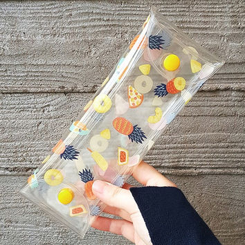 Buri pineapple clear folding pencil case