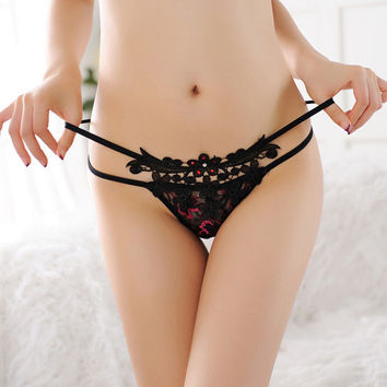 Hot Deal Cute On Sale Sexy T-back Rhinestone Panties Low Waist Pants Exotic Lingerie [6595716995]