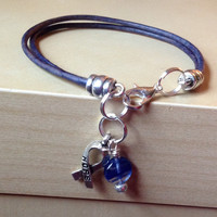 Blue Awareness Bracelet - Anklet - Natural Leather - Heart - Arthritis - Colon Cancer - Child Abuse Prevention - victims rights & more...