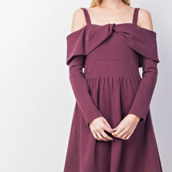 Cold Shoulder Cross Front A-Line Dress
