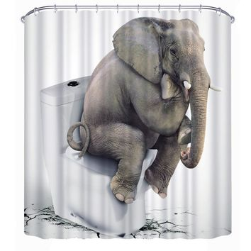 """The Thinker"" Elephant Shower Curtain"
