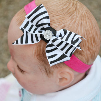 Baby Girls Hot Pink Headband Large Zebra Print Boutique Bow  Newborn to 3 Years