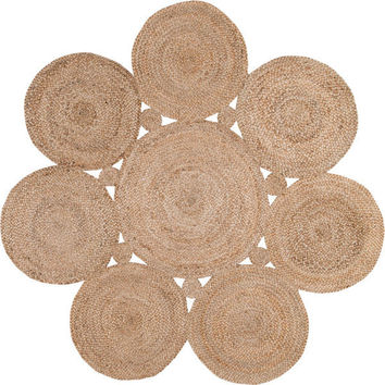 Kora Eco Round Natural Fiber Braided Reversible Circles Jute Rug