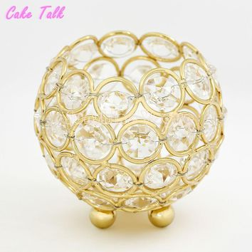 Wedding candle holders gold/silver crystal bowl glass 8cm tealight candle stand home decoration candy bar party supplier