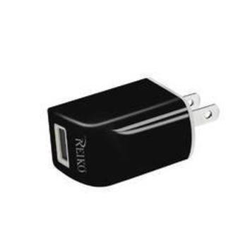 REIKO IPHONE 5/ 5C/ 5S/ SE/ 6/ 6S/ 6 PLUS/ 6S PLUS/ 7/ 7 PLUS 1 AMP PORTABLE TRAVEL ADAPTER CHARGER WITH CABLE IN BLACK