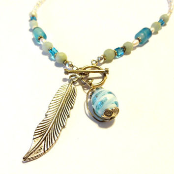 Blue and Green Beaded Choker Necklace With Front Close Sterling Toggle, Silver Feather Pendant Necklace, Feather Jewelry, Cool Hippie Choker