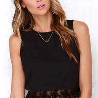 Baltic Border Black Lace Crop Top