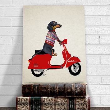 Dachshund print - Dachshund on moped  - dachshund gift doxie dachshund wall art dachshund art dog art dog gift dog lover Whimsical dog doxie