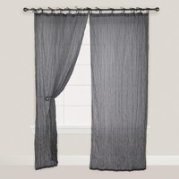 Gray Crinkle Voile Cotton Curtain - World Market