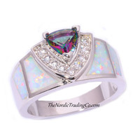 Tophatter : sz.7,8,9 Mystical Rainbow Stone Ring with CZ Accents...