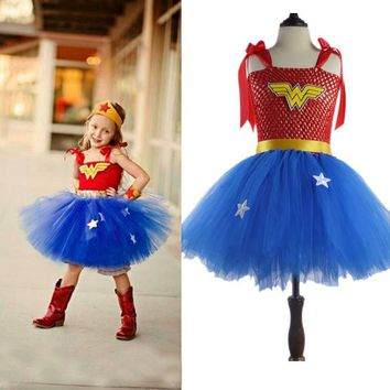 Latest Girls Wonder-Woman Tutu Dress Christmas New Year Costume Super Hero Girl Tutu Dress Photo Props Fancy Cosplay Clothing