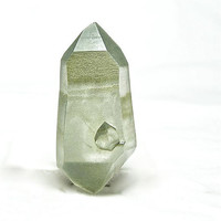 Green Chlorite Quartz Crystal Very Striated Double Terminated with Negative Crystal from Nepal
