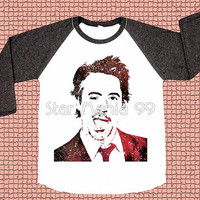 Galaxy Robert Downey Jr TShirt Robert Downey TShirt RDJ TShirt Baseball Shirt Long Sleeve Raglan Shirt Women TShirt Unisex TShirt Size S,M,L