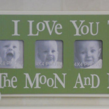 UNIQUE Nursery Decorating Ideas - I Love you to the Moon and Back - Green Nursery Wall Art Baby Sign 4x4 Picture Frame Boy or Girl Gift