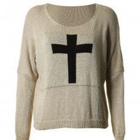 LOVE Stone Crucifix Knit Jumper - Love