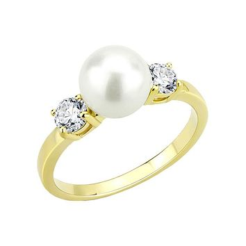 Wilhelmina - Women's Stainless Steel Gold IP Pearl And Clear CZ Ring