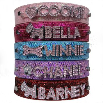 Free Shipping PU Leather Bling Personalized Dog Collar Customized Free Name Rhinestone Buckle Pink Letter XS S M L XL