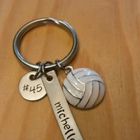 Hand Stamped Volleyball Team Keychains Volleyball Mom - Girls Volleyball Keychain - Personalized Volleyball Bag Charm - Volleyball Gift