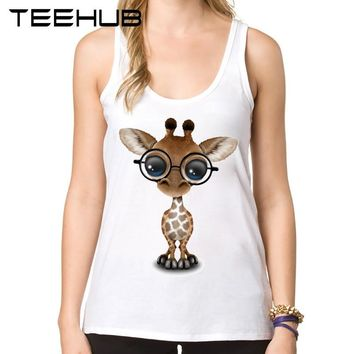 Fashion Cute Curious Baby Giraffe Wearing Glasses Printed Women Tank Tops Novelty Summer Camisoles Ladies' O-Neck Slim Vest