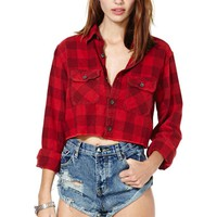 After Party Vintage Red Alert Crop Flannel