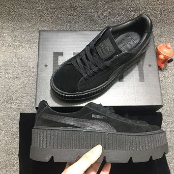 free shippng puma fenty rihanna cleated creeper platform oatmeal black suede 366268  number 2