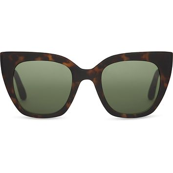 TOMS - TRAVELER Sydney Matte Blonde Tortoise Sunglasses / Bottle Green Lenses