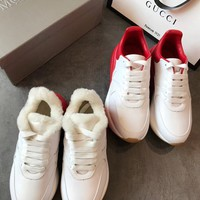 ALEXANDER MCQUEEN White And Red Runner leather sneakers