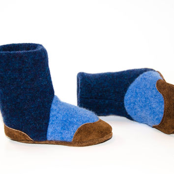 Baby Boy Shoes, Cashmere/Lambswool Toddler Slippers, Leather Soles