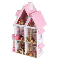 DIY Kit Dollhouse Toy Miniature Scale Model Puzzle Wooden Doll House Unique Big Size House Toy With Furnitures for New Year Gift