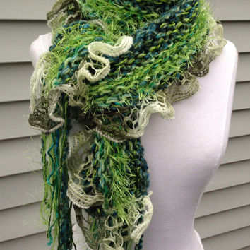 Green hand knit multi yarn scarf, knitted green, fern green, pistacchio, lime fashion scarf, fuzzy green soft handmade with salsa ruffle