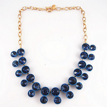 Navy blue necklace, Retro Vintage Artificial Crystal Stone Wedding Party Bridal Statement Bib Necklace Choker Trends Accessories