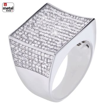 Jewelry Kay style Men's Fashion Bling Silver Plated All Around CZ Band Concave Square Pinky Ring