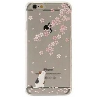 iPhone 6 Case, SwiftBox Cute Cartoon Case for iPhone 6 4.7 inch + Free 0.3mm Tempered Glass Screen Protector + SwiftBox Owl Phone Strap (Cherry Blossom and White Cat)