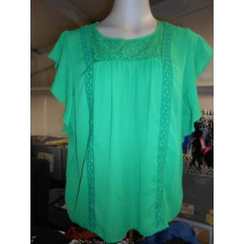 Women's Flutter Sleeve Blouse, Green, X-Large Jordache