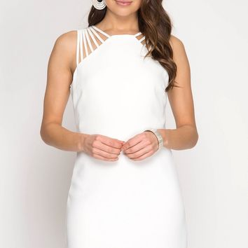 Off White Strap Shoulder Dress