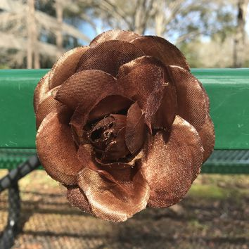 Brown Rose Hair Or Scarf Clip