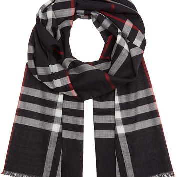 Burberry Lightweight Check Wool Silk Scarf - Navy