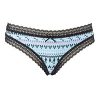 Green Lace-Trim Printed Thong Panties by Charlotte Russe