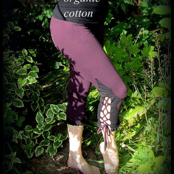 Festival Leggings w/ Corset Lacing Bloomer Style ~ Organic Cotton Plum Purple, Black Detail, Laces and Ruffle ~ Hooping, Yoga, Dance, Pixie