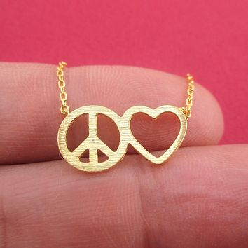 Spread Peace and Love Heart Outline Pendant Necklace