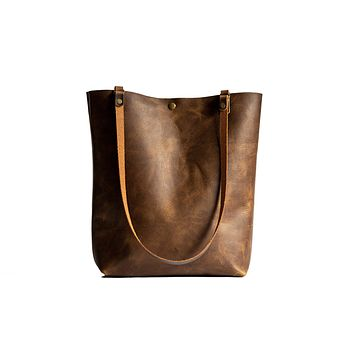Made in USA Classic Handmade Leather Tote Bag Large