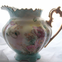 Vintage China Pitcher Shabby Chic Pink Poppies Shabby Cottage Style Gold Trim Ornate Handle