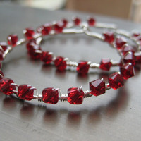 Sterling Silver Hoops with Red Crystals