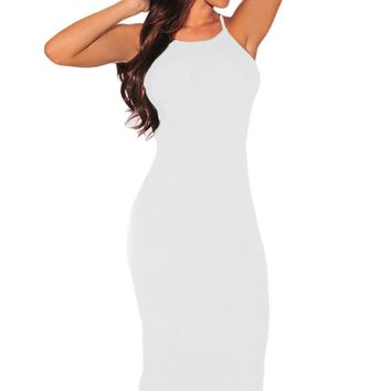 White Hardware Cut Out Sides Dress