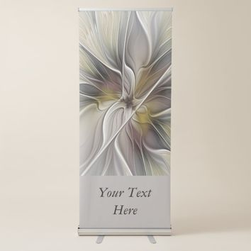 Floral Fractal, Fantasy Flower Earth Colors Text Retractable Banner
