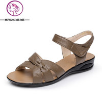 Plus Size (32-43) Flat Summer Sandals For Women 2015 Mother Shoes Genuine Leather Nurse Shoes Flat Maternity Shoes Women Sandal